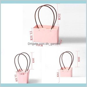 Wrap Event Festive Party Supplies Home Garden Girl With Handle Pvc Paper Gift Box Jewelry Packaging Portable Basket Handy Flower Bags