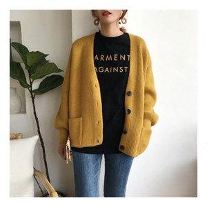 Women Cardigans Sweater V neck Solid Loose Knitwear Single Breasted Casual Knit Cardigan Outwear Winter Jacket Coat1