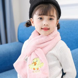 Scarves & Wraps Soft Skin-Friendly Scarf For Kids Cute Duck&Squirrel Cartoon Pattern Neck Solid Color Cross Drop