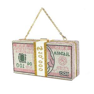 2021Designer2021 Luxury fashion trendy USD dollar glitter shiny pink crystal bling rhinestone money clutch bag purse