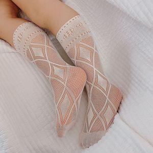 INS Children Hollow Socks Summer Girls thin plaid mesh sock Kids breathable legs Stockings A6488