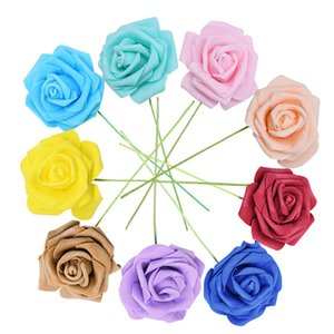 25 Heads 8CM New Colorful Artificial PE Foam Rose Flowers Bride Bouquet Home Wedding Decor Scrapbooking DIY Supplies 517 R2