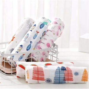 Baby Blanket Printed Bath Towel Double Layers Cotton Gauze Wrapper Cartoon Newborn Bath Towel Baby Stroller Covers 37 Designs YL401