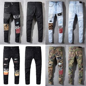 Classic Clothing jeans men and women high quality printed army green leopard print destruction men's straight motorcycle Jean