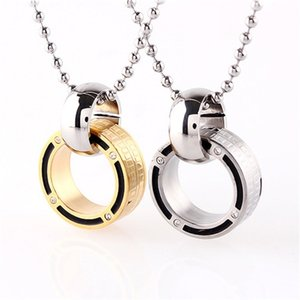 Titanium Steel Diamond Inlaid Double Rings in Hand Love Lovers Pendant Necklace Jd055