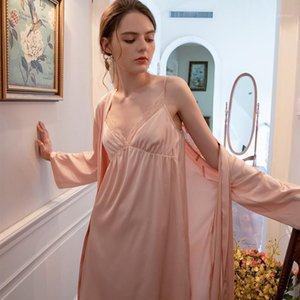 Ladies Robe Nightgown Dress Girl Women Sleepwear Stain Robe Set1