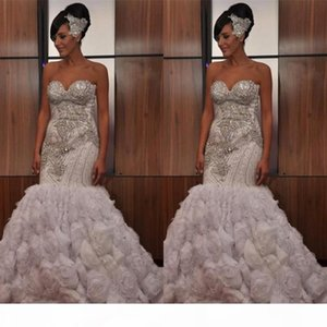 2021 Stunning Strapless Sleeveless Crystal Beading Wedding Dresses Mermaid Ruffles Zipper Back Vintage African Bridal Gowns