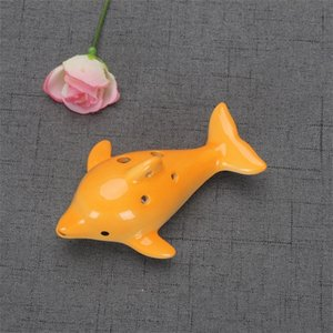 Cute 6 Hole Ceramic Dolphin Ocarina Educational Toy Musical Instrument Animal Shape Educational Music Flute Charm 147 N2