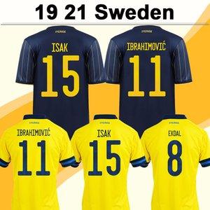 2021 Sweden Team National Ibrahimovic forsberg Mens Soccer maillots de football Larsson Ekdal Isak Home Away Football Shirts Sleeve Adulte