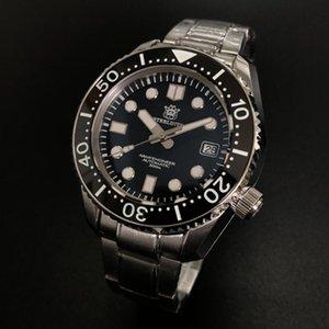 ساعات المعصم SD1968 الصلب 30ATM 300 متر مقاومة للماء الساعات الغطس مضيئة الأوتوماتيكية الغطاس 316L الفولاذ المقاوم للصدأ حالة