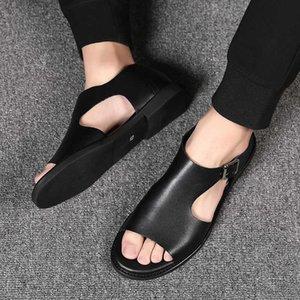 Summer Men Sandals Leisure Beach Men Casual Shoes Genuine Leather Men's Sandals Buckle Mens Roman Sandals 210615