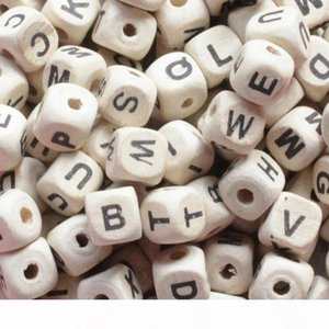 200pcs lot Mix Letter Wood Beads DIY Alphabet Square Cube Letter Wood Beads Fit DIY Pacifier Clip Natural Wooden Beads