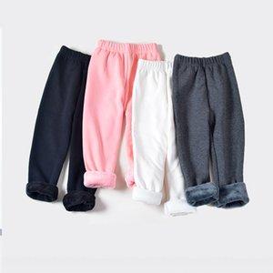 Autumn Thermal Kids Leggings Wholesale Winter Dot Printing Thick Warm Pants Girls Plus Velvet Cropped Trousers M3866
