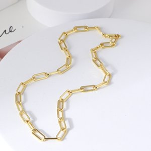 18K Gold IP Plating Stainless Steel Necklace For Women Punk Gold Paperclip Link Chain Necklace Tarnish Resistant Jewelry 697 T2