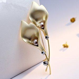 Flower Gift Diamente For Brooch Party Gold-plate Pin Rhinestone Faux Broach Alloy Bridal Wedding Costume Silver Dress Pin Fashion 2021 Rmwe