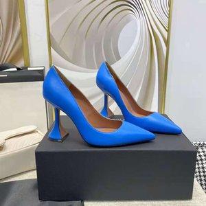 Zapatos de moda azul amina italia muaddi ami bombas boda partido pirámide alto talón paris