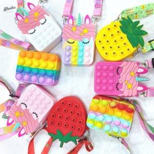 Fidget Toys Push Bubble Favor Coin Purse Pencil Case Messenger Bag Mobile Phone Wallet Bags Fashion Finger Toy For Children Gifts t1jn