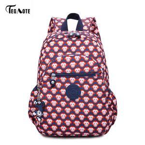 TEGAOTE Floral Mini Small Backpack for Teenage Girls Feminine Backpack Casual Kipled Nylon Backpacks Women Bagpack Sac A Dos bag 201118