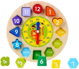 Wooden Math, Counting & Time Teaching Clock Puzzle Toys Educational Toy with Numbers and Shapes Sorting Blocks Original Box