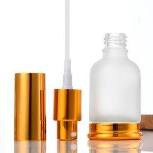 Pompe en verre givré (pulvérisateur) Bouteilles de parfum d'huile essentielle de lotion avec bouchon en or bronze 20 ml 30 ml 50 ml EEB6002