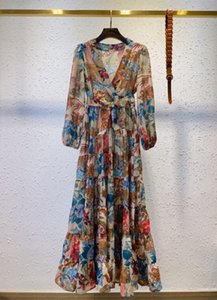 Australian women's 2021 new color-tie tie collared jigsaw print waist tie dress