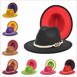 شعر مستعار الصوف بسيطة قبعة الرجال النساء فيدورا القبعات مع حزام السيدات خمر ترايلبي قبعات اثنين من لهجة واسعة بريم الجاز قبعة chapeau femme feutre