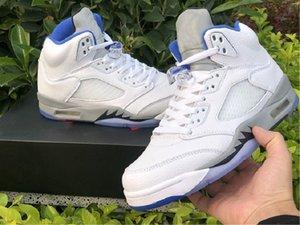 DD0587-140 Erkekler Basketbol Ayakkabı Mavi Beyaz 5 Stealth 2.0 Zapatos Eğitmenler Spor Sneakers Orijinal Kutusu Boyutu ile 40-47