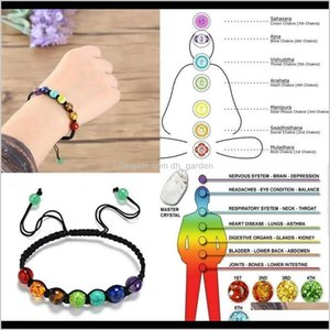 Cuff Bracelets Jewelry Drop Delivery 2021 7 Chakra Colorful Artificial Stone Reiki Buddha Fashion Prayer Adjustable Bead Braided Casual Brace