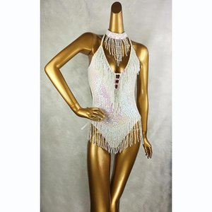 Stage Wear Sexy Women Beading Bodysuit Sequin Swimsuit Latin Belly Dance Costume Dancer One-Piece Outfit Performance Leotard