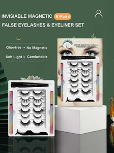 Reusable Handmade 6 Pairs Invisiable Magnetic False Eyelashes Set Super Soft & Light Glue-Free Fake Lashes With Manget Eyeliner Tweezer Easy To Wear Makeup For Eyes