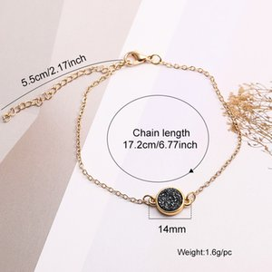 Hot Friendship Resin Druzy Crystal Stone Round Sale Bangle Fashion Designer Gold Bracelet Chain Braselets Jewelry For Women Gift Wholes Ocio