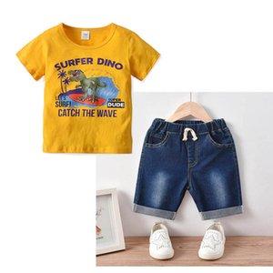 Clothing Sets Casual Boys Suit Children Outfit Summer Cotton Short Sleeve T Shirt Denim Jeans Shorts 2Pcs 2-7Y B4495