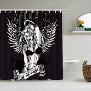 Shower Curtain Angel Set Sexy Bikini Girl Wearing Wings Waterproof Bath Liners Hooks Included -Bathroom Decorative Ideas