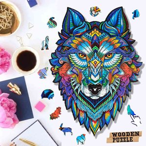 Unique Wooden Puzzle animal Jigsaw Puzzles Mysterious Wolf Puzzles Gift For Adults Kids Educational Puzzle Gift Interactive Toy 210330