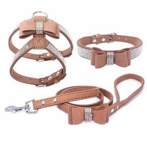3 Peices Suit Dog Harness Collar Leash Suit Adjustable Soft Suede Fabric Shining Diamonds Pet Vests for Dogs Comfort Pets Supplies 895 R2