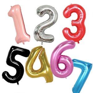 40 인치 빨간색 큰 숫자 풍선 0-9, 호일 Mylar 큰 숫자 baloon 생일 파티 기념일 용품 장식 5pcs