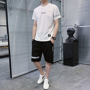 Ropa deportiva de verano pantalones cortos casuales de hombre sudor secado rápido camiseta tee de moda corta delgada media manga traje