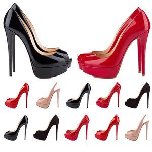Kadınlar Kırmızı Alt Yüksek Topuklu Peep Toes Luxurys Tasarımcılar Ayakkabı Hakiki Deri Pompalar Lady Düğün Sandalet 2 cm Platformlar 14 cm Topuk