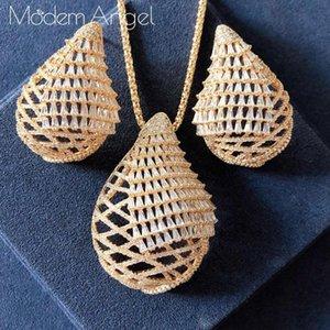 Earrings & Necklace ModemAngel 2021 Luxury WATER DROP Cubic Zirconia Earring Jewelry Sets For Women Wedding Dubai Bridal Set