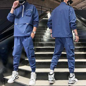Мужчины Streetwear Couscsuit Harajuku Joggers Костюм наборы Светоотражающие 2020 Новый Hiphop 2 шт. Толстовки + Брюки Спортивная мужская Одежда1