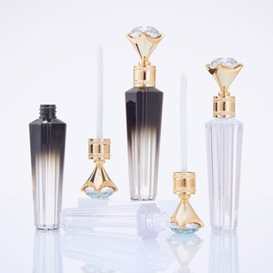 Empty Lip Gloss Tubes Clear Fashion Diamond Travel Bottle Packaging Containers Refillable Lipgloss Bottles Gold Top Gradient Black