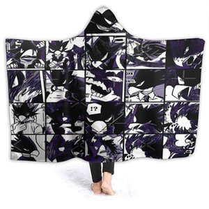 My Hero Academia Collage Anime Bnha Fleece Wearable Hooded Blanket, Tokoyami Fumikage Soft Cozy Fuzzy Plush Twin Blankets Hoodie