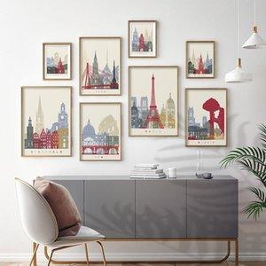 Париж Берлин Лондон Рим Путешествия Пейзаж Холст Живопись Современное искусство Стены для гостиной Спальня Плакаты и принты Домашний декор Картины