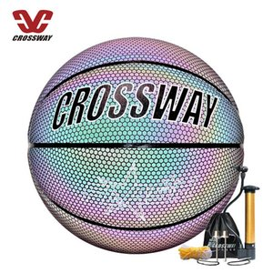 Holographic Glowing Reflective Basketball ball for Night Training Sports Official Size 7 PU Rainbow Wear-resistant Luminous Flashing Basketballs