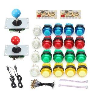 DIY Joystick Arcade Kits 2 Players With 20 LED Arcade Buttons + 2 Joysticks + 2 USB Encoder Kit + Cables Arcade Game