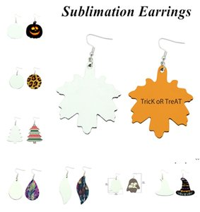 Sublimation Earrings Double Sided Leather Earring Pendants Sublimation Blanks Creative Gifts Thermal Transfer Leaves Earrings EWC7435