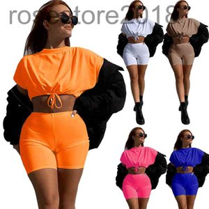 womens summer clothes fashion 2 two piece outfits sets Drawstring t shirt top shorts tracksuits suits streetwear plus size clothing 889