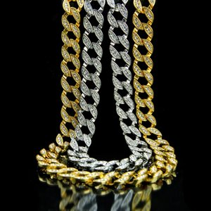 New Iced Out Chain Rhinestone Crystal Gold Cuban Link Chain For Mens Hip Hop Necklace Jewelry