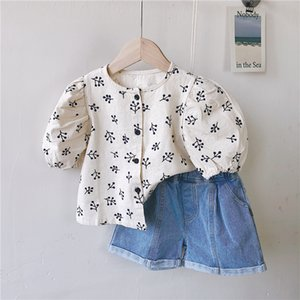 Toddler Baby Cotton Printed Short Sleeves Blouse Summer New Style Girl Lovely Cherry Print Clothes Puff Sleeve Shirt 210413