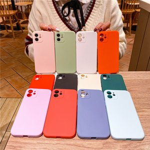 Applicable to the new straight edge fine hole Apple 12 mobile phone case protective cover, frosted imitation silicone TPU solid color soft shell material